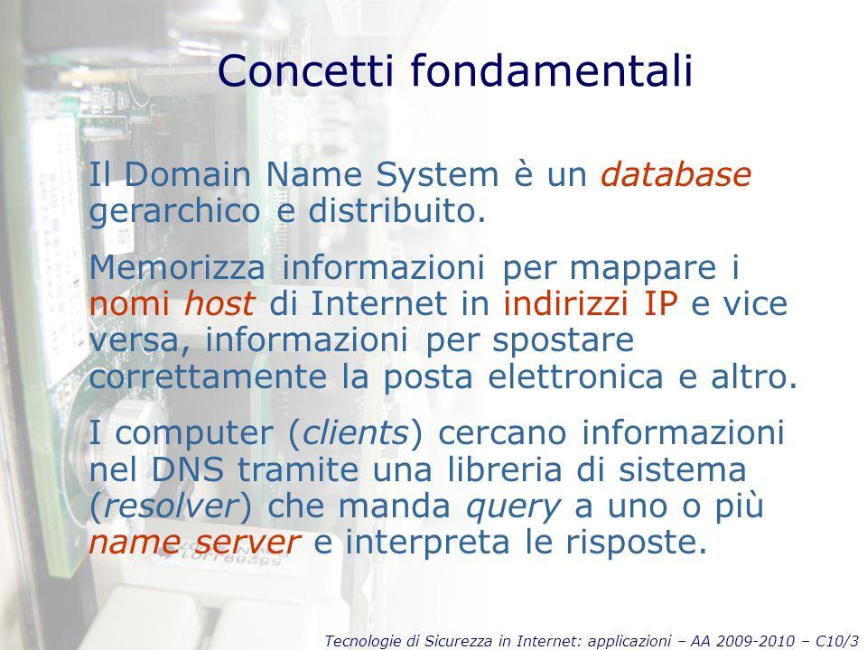 Tecnologie di Sicurezza in Internet: applicazioni – AA 2009-2010 – C10/3 Concetti fondamentali Il Domain Name System è un database gerarchico e distribuito.