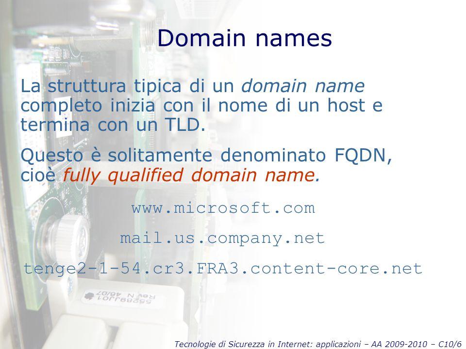 Tecnologie di Sicurezza in Internet: applicazioni – AA 2009-2010 – C10/6 Domain names La struttura tipica di un domain name completo inizia con il nome di un host e termina con un TLD.