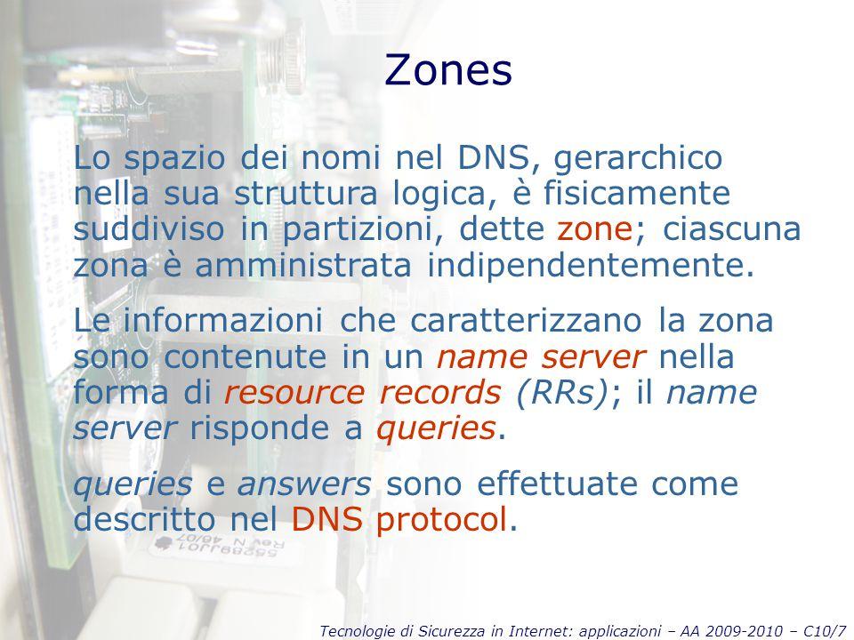 Tecnologie di Sicurezza in Internet: applicazioni – AA 2009-2010 – C10/7 Zones Lo spazio dei nomi nel DNS, gerarchico nella sua struttura logica, è fisicamente suddiviso in partizioni, dette zone; ciascuna zona è amministrata indipendentemente.