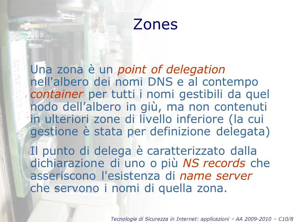 Tecnologie di Sicurezza in Internet: applicazioni – AA 2009-2010 – C10/8 Zones Una zona è un point of delegation nell albero dei nomi DNS e al contempo container per tutti i nomi gestibili da quel nodo dell'albero in giù, ma non contenuti in ulteriori zone di livello inferiore (la cui gestione è stata per definizione delegata) Il punto di delega è caratterizzato dalla dichiarazione di uno o più NS records che asseriscono l esistenza di name server che servono i nomi di quella zona.