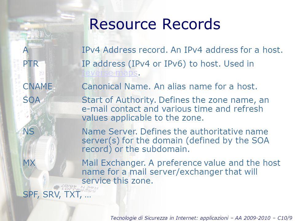 Tecnologie di Sicurezza in Internet: applicazioni – AA 2009-2010 – C10/9 Resource Records AIPv4 Address record.