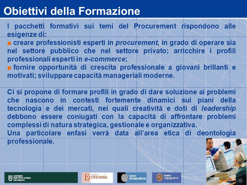 Obiettivi della Formazione I pacchetti formativi sui temi del Procurement rispondono alle esigenze di: ■ creare professionisti esperti in procurement,