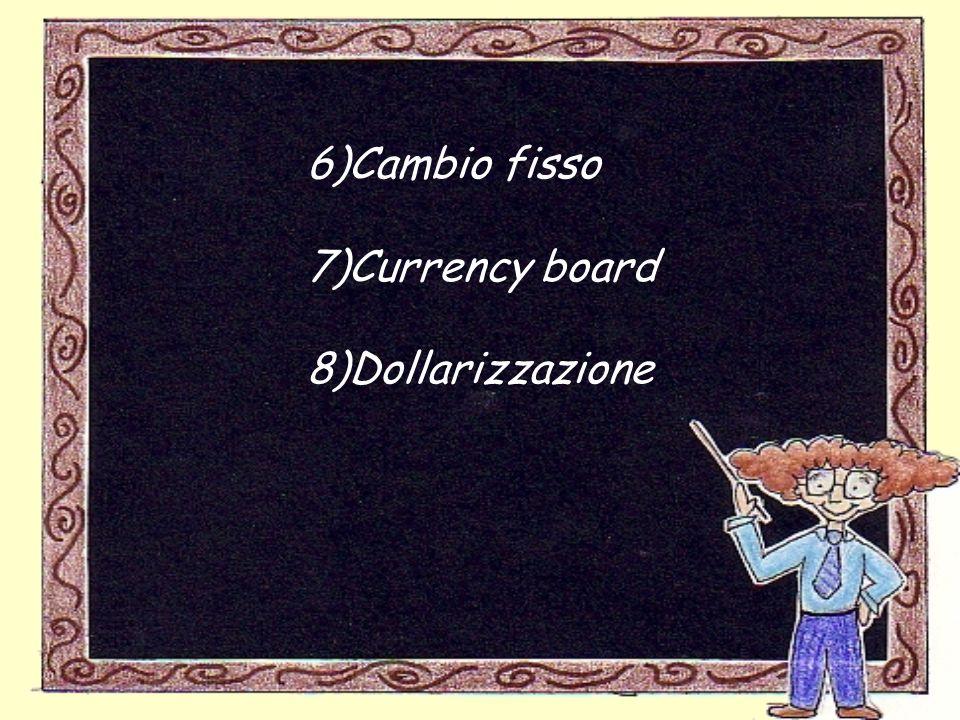 6)Cambio fisso 7)Currency board 8)Dollarizzazione