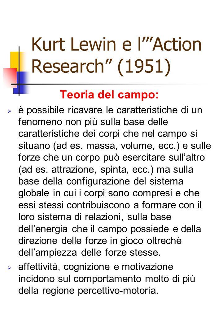 """Kurt Lewin e l'""""Action Research"""" (1951) Teoria del campo:  è possibile ricavare le caratteristiche di un fenomeno non più sulla base delle caratteris"""