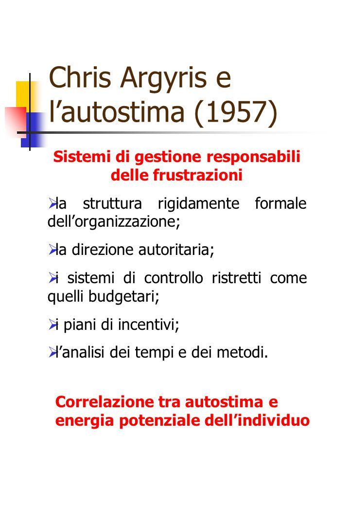 Chris Argyris e l'autostima (1957) Sistemi di gestione responsabili delle frustrazioni  la struttura rigidamente formale dell'organizzazione;  la di