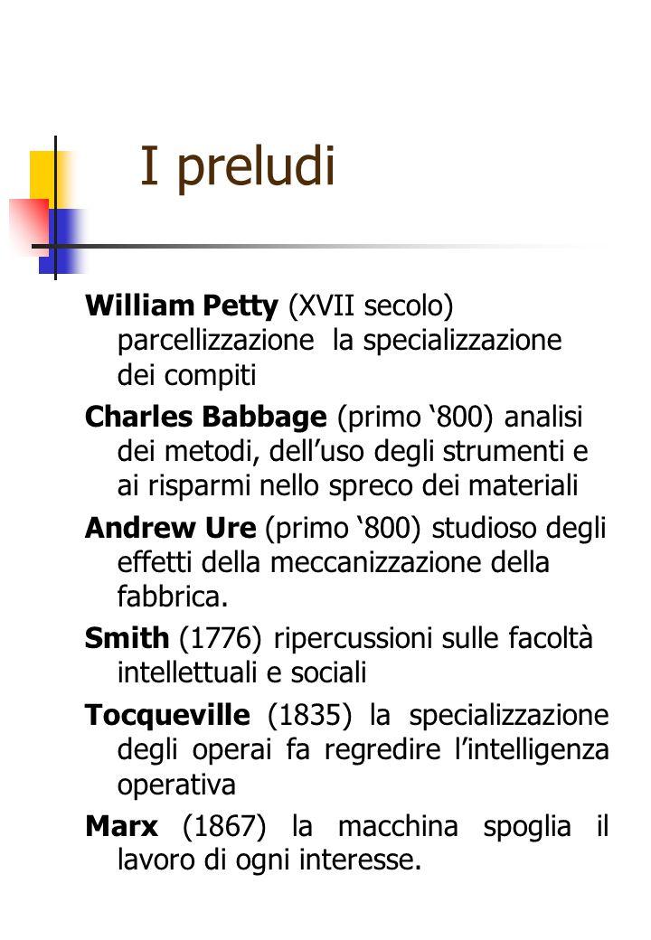 I preludi William Petty (XVII secolo) parcellizzazione la specializzazione dei compiti Charles Babbage (primo '800) analisi dei metodi, dell'uso degli