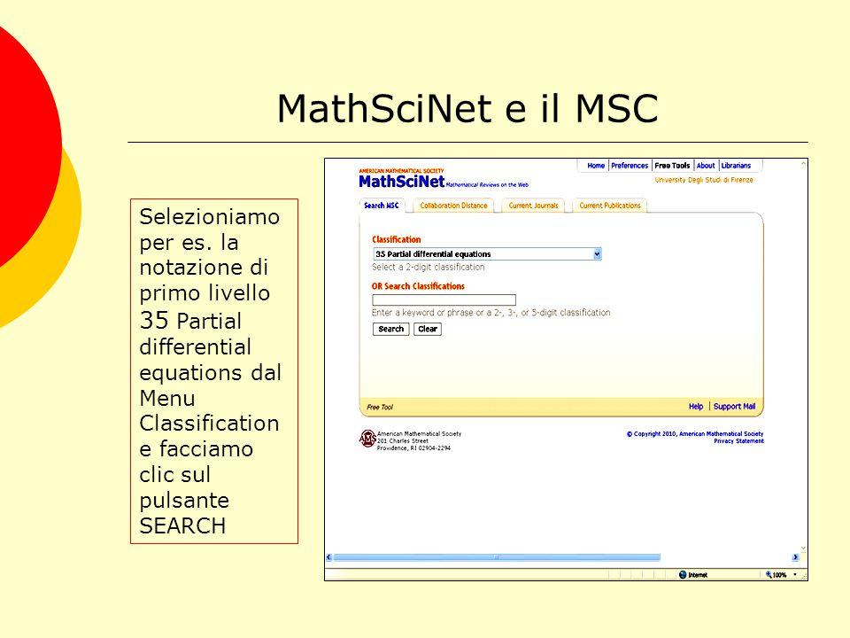 MathSciNet e il MSC Selezioniamo per es.