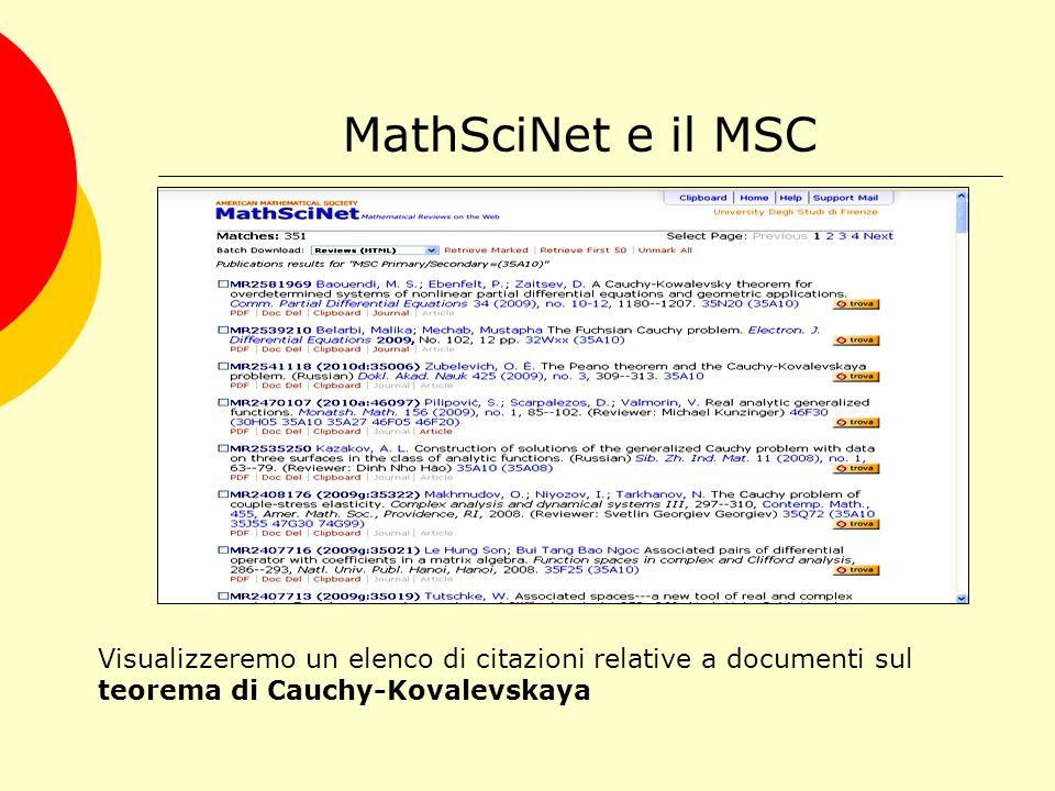 MathSciNet e il MSC Visualizzeremo un elenco di citazioni relative a documenti sul teorema di Cauchy-Kovalevskaya