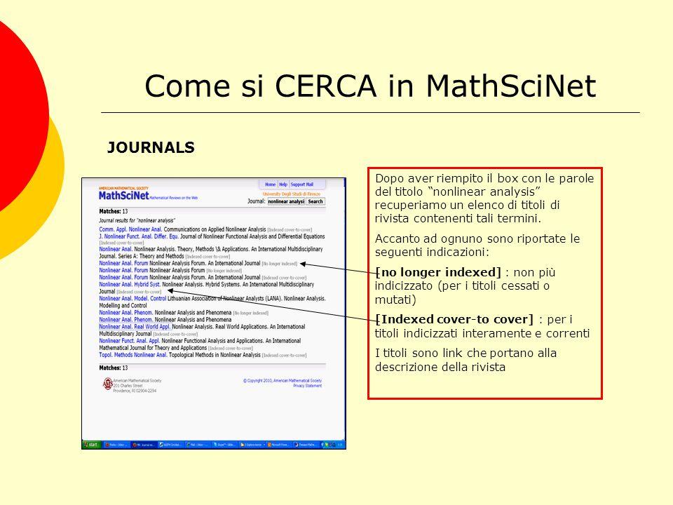 Come si CERCA in MathSciNet JOURNALS Dopo aver riempito il box con le parole del titolo nonlinear analysis recuperiamo un elenco di titoli di rivista contenenti tali termini.