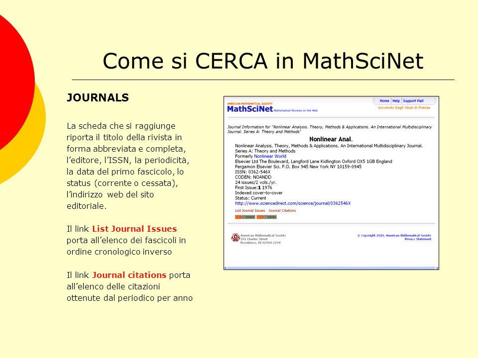 Come si CERCA in MathSciNet JOURNALS La scheda che si raggiunge riporta il titolo della rivista in forma abbreviata e completa, l'editore, l'ISSN, la periodicità, la data del primo fascicolo, lo status (corrente o cessata), l'indirizzo web del sito editoriale.