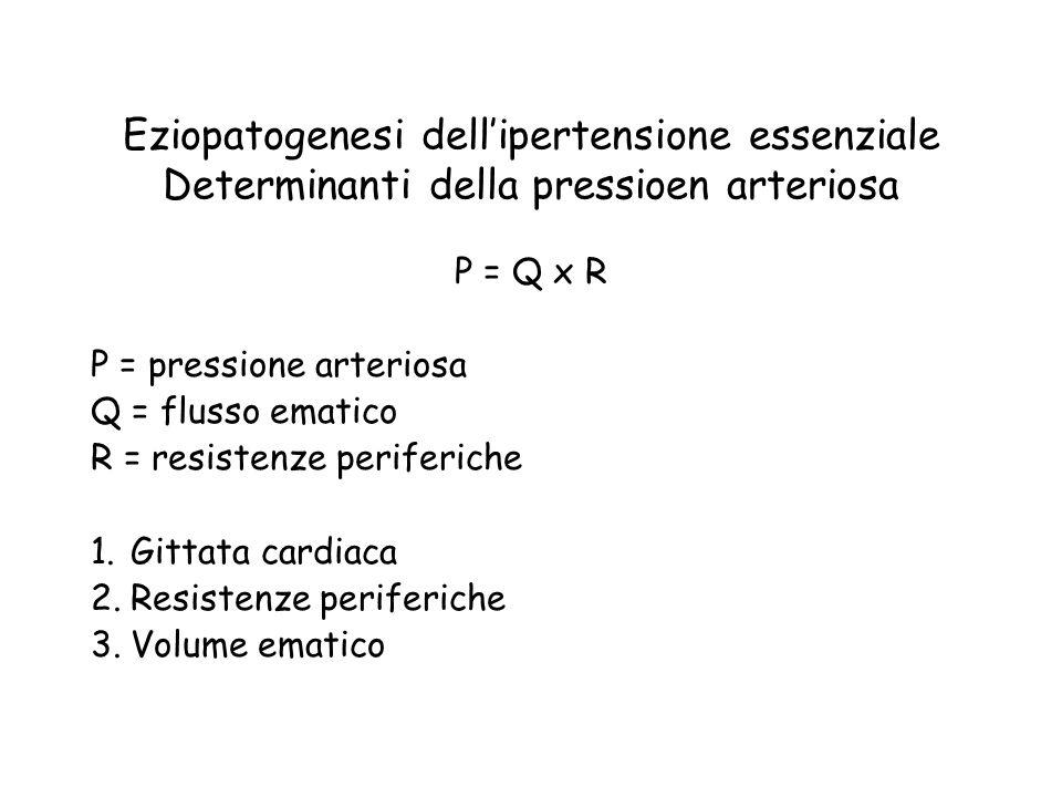 Eziopatogenesi dell'ipertensione essenziale Determinanti della pressioen arteriosa P = Q x R P = pressione arteriosa Q = flusso ematico R = resistenze periferiche 1.Gittata cardiaca 2.Resistenze periferiche 3.Volume ematico
