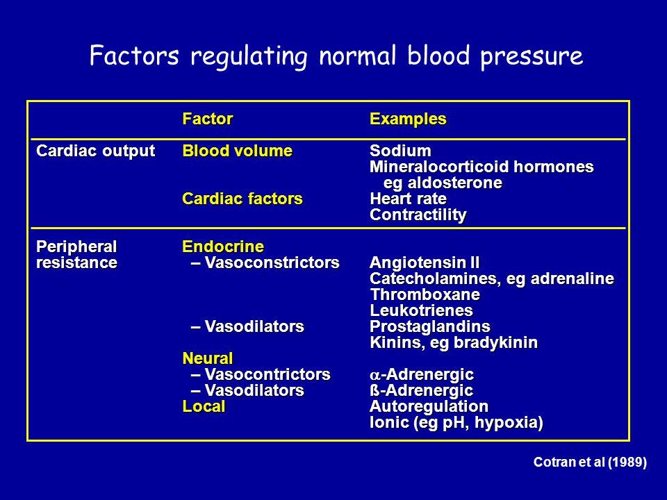 Factors regulating normal blood pressure Cotran et al (1989) FactorExamples Cardiac outputBlood volumeSodium Mineralocorticoid hormones eg aldosterone Cardiac factorsHeart rate Contractility PeripheralEndocrine resistance – VasoconstrictorsAngiotensin II Catecholamines, eg adrenaline ThromboxaneLeukotrienes – VasodilatorsProstaglandins – VasodilatorsProstaglandins Kinins, eg bradykinin Neural – Vasocontrictors  -Adrenergic – Vasocontrictors  -Adrenergic – Vasodilators ß-Adrenergic – Vasodilators ß-Adrenergic LocalAutoregulation Ionic (eg pH, hypoxia)