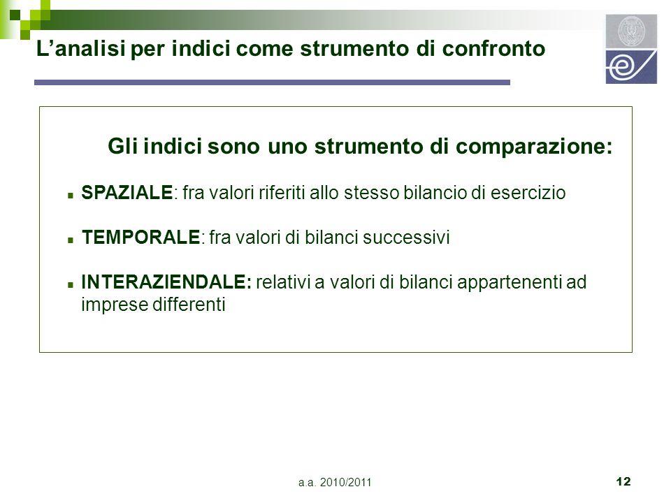 a.a. 2010/201112 L'analisi per indici come strumento di confronto Gli indici sono uno strumento di comparazione: n SPAZIALE: fra valori riferiti allo