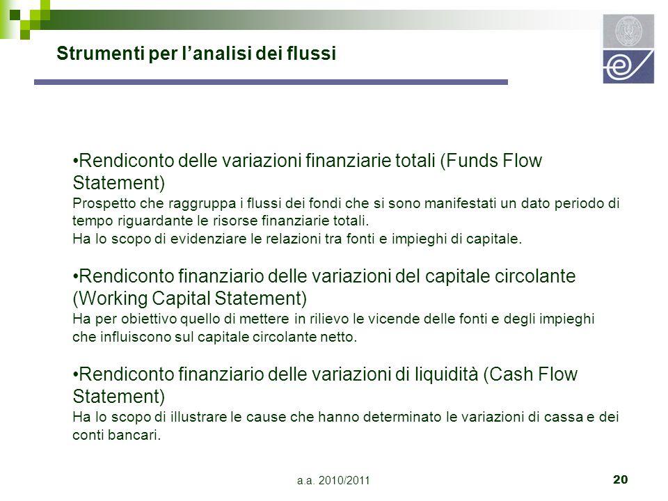 a.a. 2010/201120 Rendiconto delle variazioni finanziarie totali (Funds Flow Statement) Prospetto che raggruppa i flussi dei fondi che si sono manifest