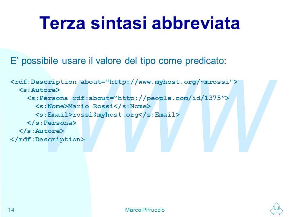 WWW Marco Pirruccio14 Terza sintasi abbreviata E' possibile usare il valore del tipo come predicato: Mario Rossi rossi@myhost.org