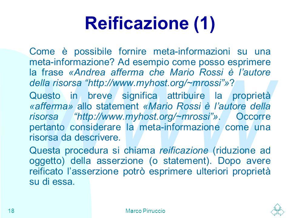 WWW Marco Pirruccio18 Reificazione (1) Come è possibile fornire meta-informazioni su una meta-informazione.