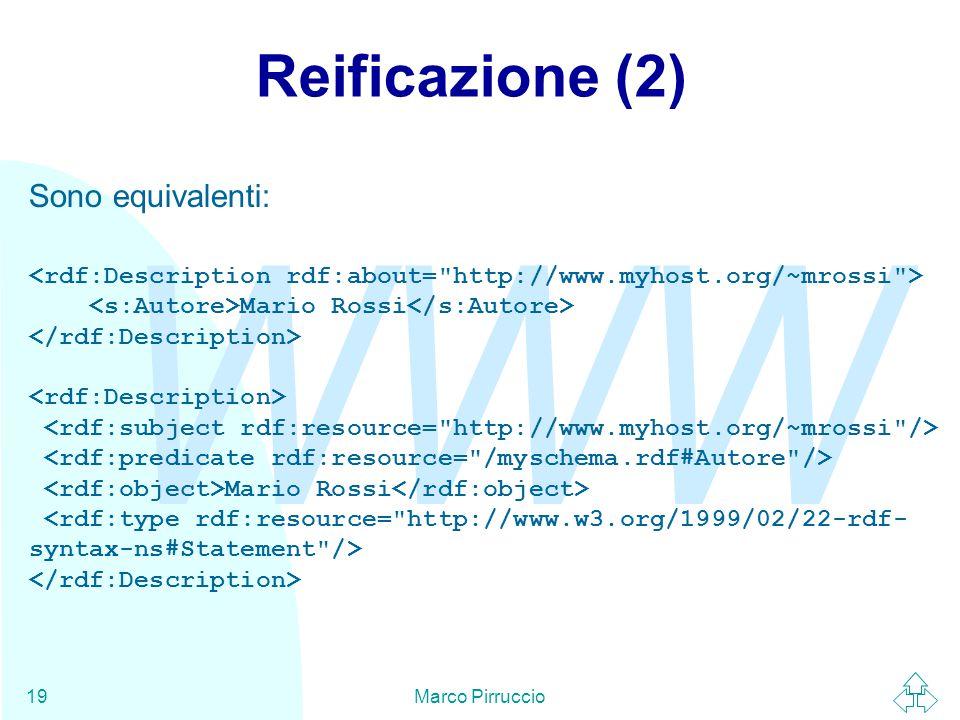 WWW Marco Pirruccio19 Reificazione (2) Sono equivalenti: Mario Rossi Mario Rossi