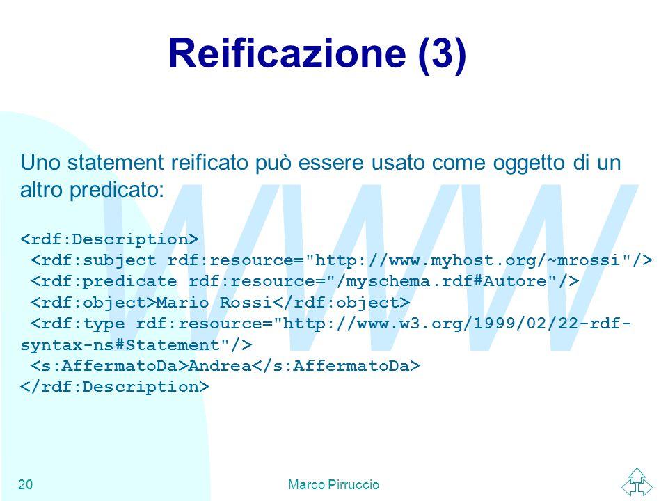 WWW Marco Pirruccio20 Reificazione (3) Uno statement reificato può essere usato come oggetto di un altro predicato: Mario Rossi Andrea