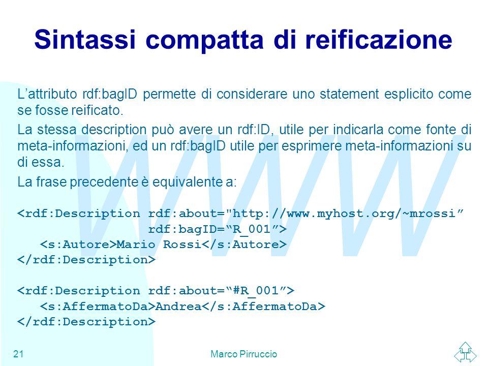 WWW Marco Pirruccio21 Sintassi compatta di reificazione L'attributo rdf:bagID permette di considerare uno statement esplicito come se fosse reificato.