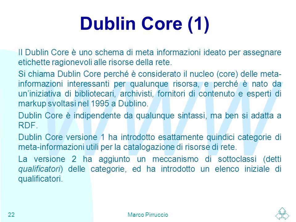 WWW Marco Pirruccio22 Dublin Core (1) Il Dublin Core è uno schema di meta informazioni ideato per assegnare etichette ragionevoli alle risorse della rete.