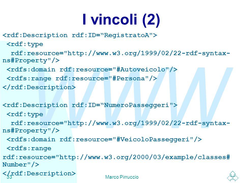 WWW Marco Pirruccio33 I vincoli (2) <rdf:type rdf:resource= http://www.w3.org/1999/02/22-rdf-syntax- ns#Property /> <rdf:type rdf:resource= http://www.w3.org/1999/02/22-rdf-syntax- ns#Property /> <rdfs:range rdf:resource= http://www.w3.org/2000/03/example/classes# Number />