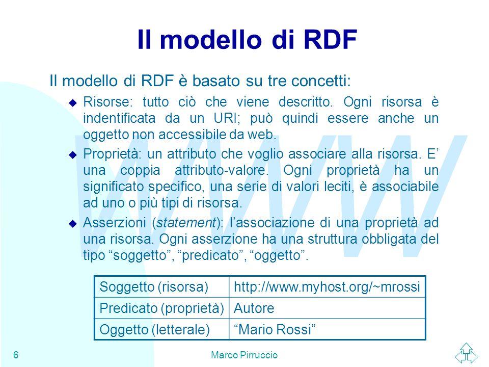 WWW Marco Pirruccio6 Il modello di RDF Il modello di RDF è basato su tre concetti: u Risorse: tutto ciò che viene descritto.