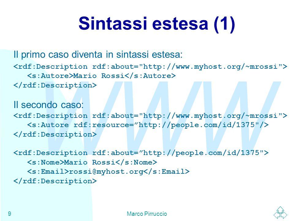 WWW Marco Pirruccio9 Sintassi estesa (1) Il primo caso diventa in sintassi estesa: Mario Rossi Il secondo caso: Mario Rossi rossi@myhost.org
