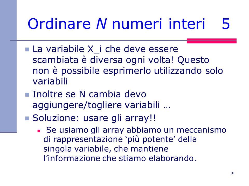 10 Ordinare N numeri interi 5 La variabile X_i che deve essere scambiata è diversa ogni volta.