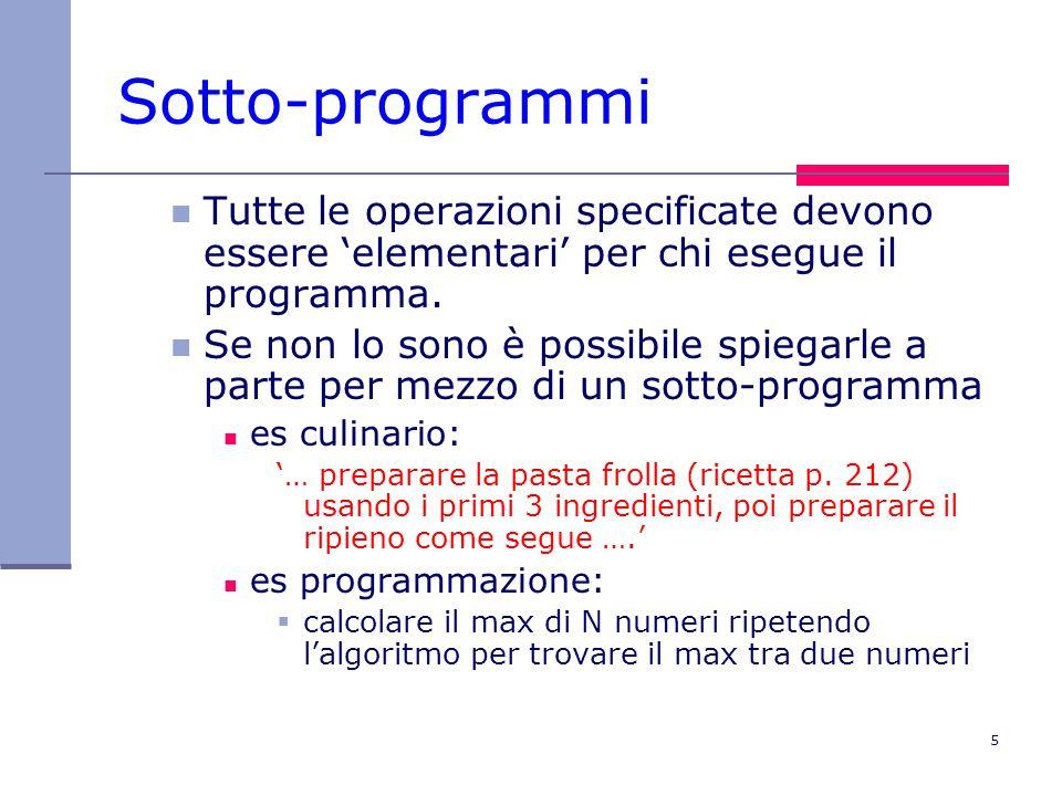 5 Sotto-programmi Tutte le operazioni specificate devono essere 'elementari' per chi esegue il programma. Se non lo sono è possibile spiegarle a parte