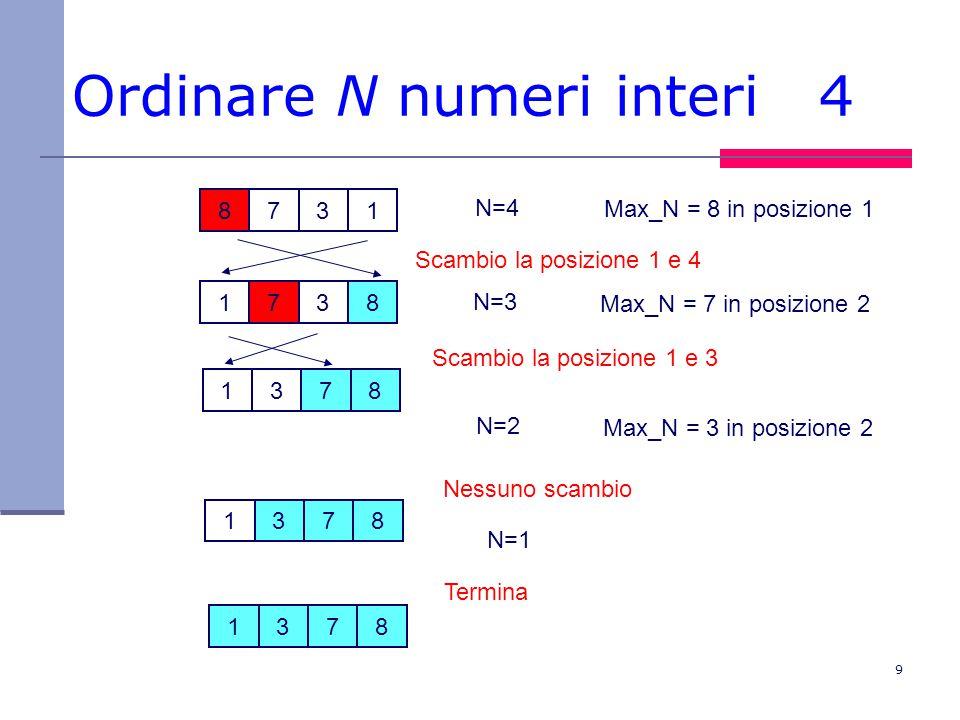 9 Ordinare N numeri interi 4 8731 1378 1738 N=4 Max_N = 8 in posizione 1 Scambio la posizione 1 e 4 N=3 Max_N = 7 in posizione 2 Scambio la posizione 1 e 3 N=2 Max_N = 3 in posizione 2 Nessuno scambio 1378 Termina 1378 N=1