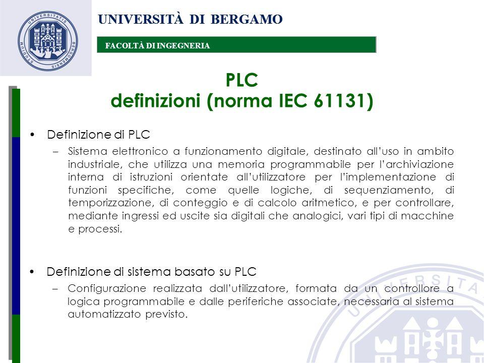 UNIVERSITÀ DI BERGAMO FACOLTÀ DI INGEGNERIA UNIVERSITÀ DI BERGAMO FACOLTÀ DI INGEGNERIA UNIVERSITÀ DI BERGAMO FACOLTÀ DI INGEGNERIA PLC definizioni (n