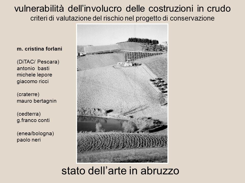 vulnerabilità dell'involucro delle costruzioni in crudo criteri di valutazione del rischio nel progetto di conservazione stato dell'arte in abruzzo m.