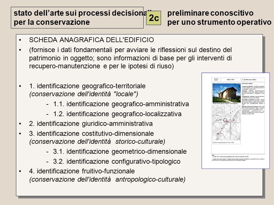 SCHEDA ANAGRAFICA DELL EDIFICIO (fornisce i dati fondamentali per avviare le riflessioni sul destino del patrimonio in oggetto; sono informazioni di base per gli interventi di recupero-manutenzione e per le ipotesi di riuso) 1.