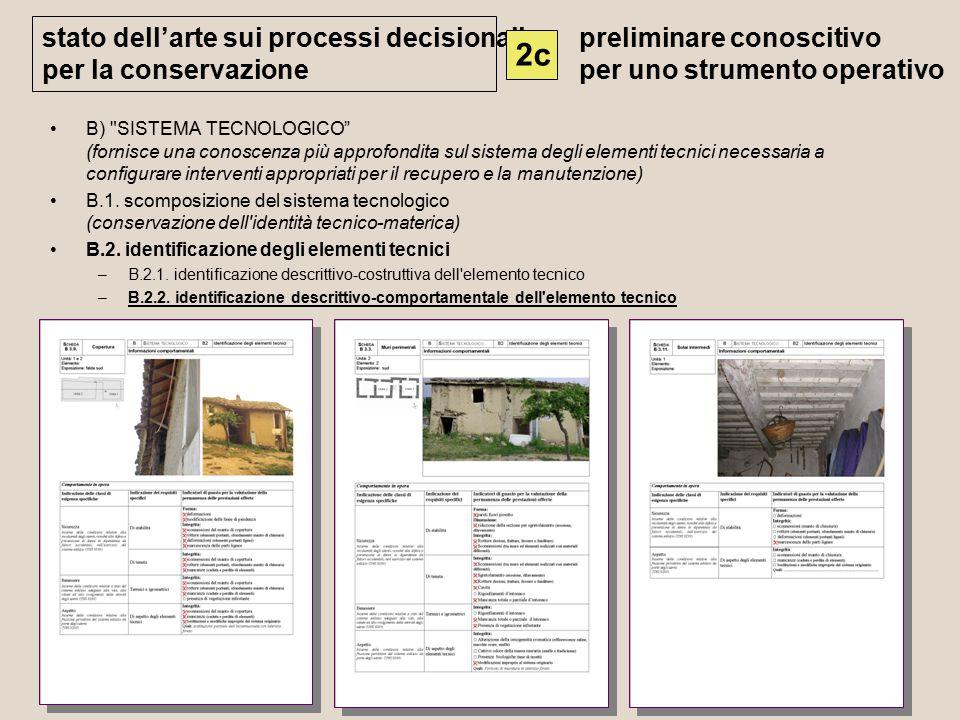 B) SISTEMA TECNOLOGICO (fornisce una conoscenza più approfondita sul sistema degli elementi tecnici necessaria a configurare interventi appropriati per il recupero e la manutenzione) B.1.