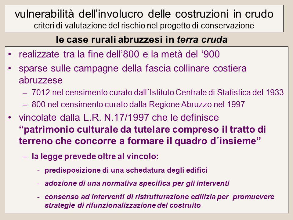 realizzate tra la fine dell'800 e la metà del '900 sparse sulle campagne della fascia collinare costiera abruzzese –7012 nel censimento curato dall´Istituto Centrale di Statistica del 1933 –800 nel censimento curato dalla Regione Abruzzo nel 1997 vincolate dalla L.R.
