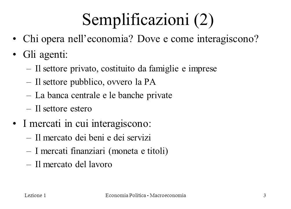 Lezione 1Economia Politica - Macroeconomia24 Modelli; variabili esogene ed endogene I modelli consentono di rappresentare la realtà mediante: semplici descrizioni verbali descrizioni grafiche o algebriche Nei modelli economici troviamo due tipi di variabili: 1.Endogene, quelle spiegate all'interno del modello 2.Esogene, quelle non spiegate dal modello e prese come date Es.: in un sistema di equazioni lineari le endogene sono le variabili per cui si calcola la soluzione, che sarà funzione di tutte le altre variabili (le esogene )