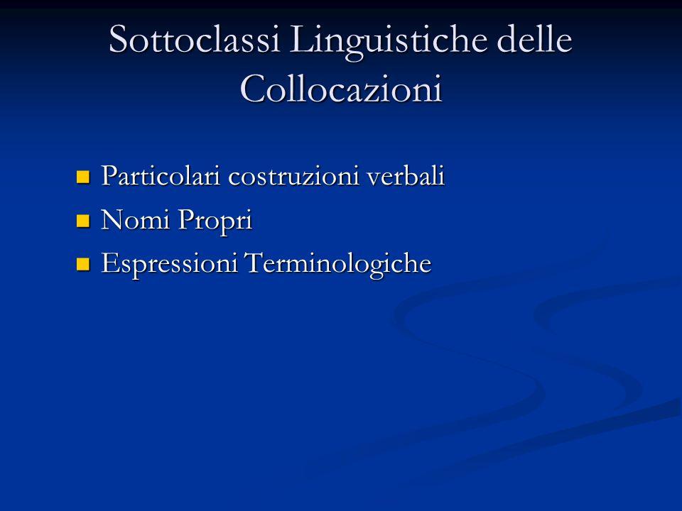 Sottoclassi Linguistiche delle Collocazioni Particolari costruzioni verbali Particolari costruzioni verbali Nomi Propri Nomi Propri Espressioni Terminologiche Espressioni Terminologiche