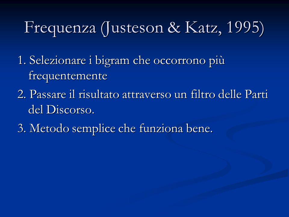 Frequenza (Justeson & Katz, 1995) 1. Selezionare i bigram che occorrono più frequentemente 2. Passare il risultato attraverso un filtro delle Parti de