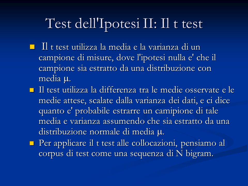 Test dell Ipotesi II: Il t test Il t test utilizza la media e la varianza di un campione di misure, dove l ipotesi nulla e che il campione sia estratto da una distribuzione con media .