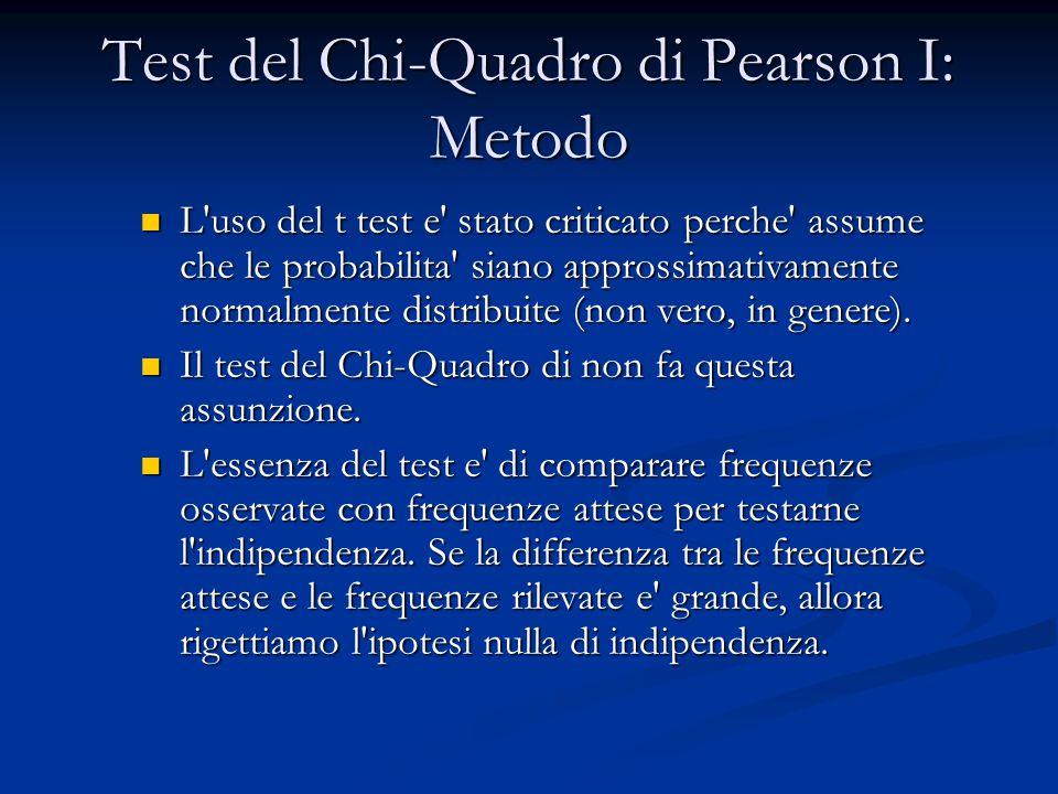 Test del Chi-Quadro di Pearson I: Metodo L uso del t test e stato criticato perche assume che le probabilita siano approssimativamente normalmente distribuite (non vero, in genere).
