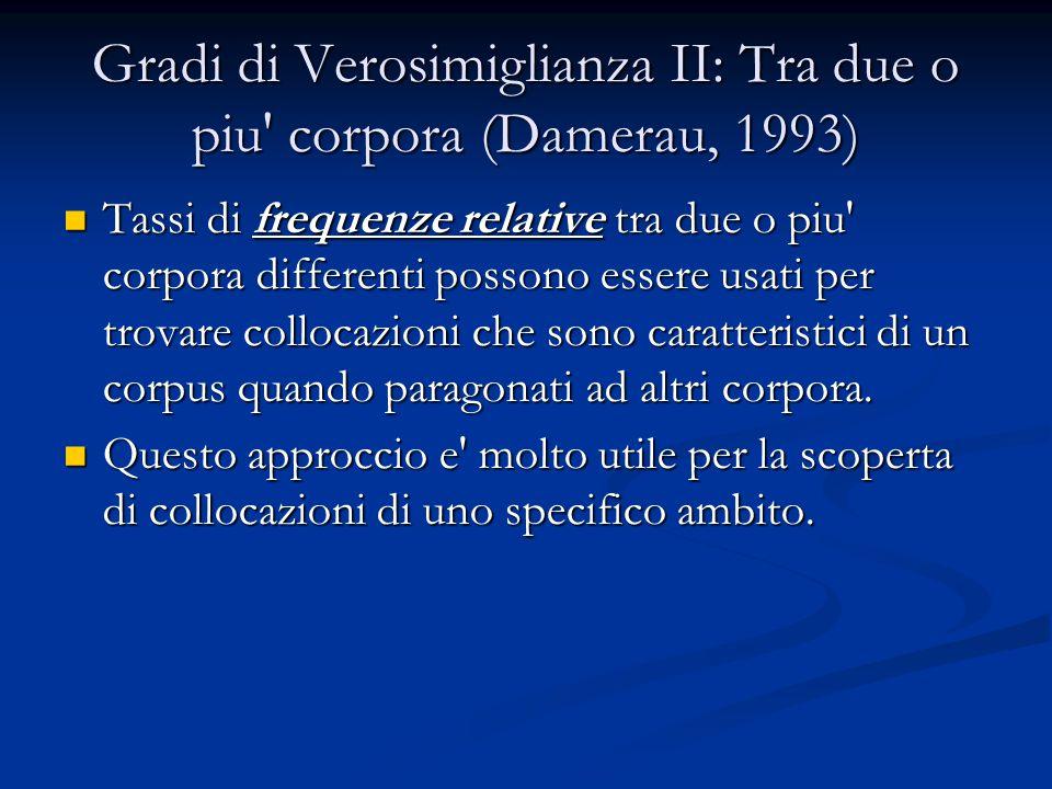 Gradi di Verosimiglianza II: Tra due o piu corpora (Damerau, 1993) Tassi di frequenze relative tra due o piu corpora differenti possono essere usati per trovare collocazioni che sono caratteristici di un corpus quando paragonati ad altri corpora.