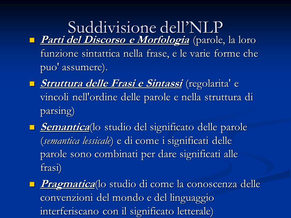 Suddivisione dell'NLP Parti del Discorso e Morfologia (parole, la loro funzione sintattica nella frase, e le varie forme che puo assumere).