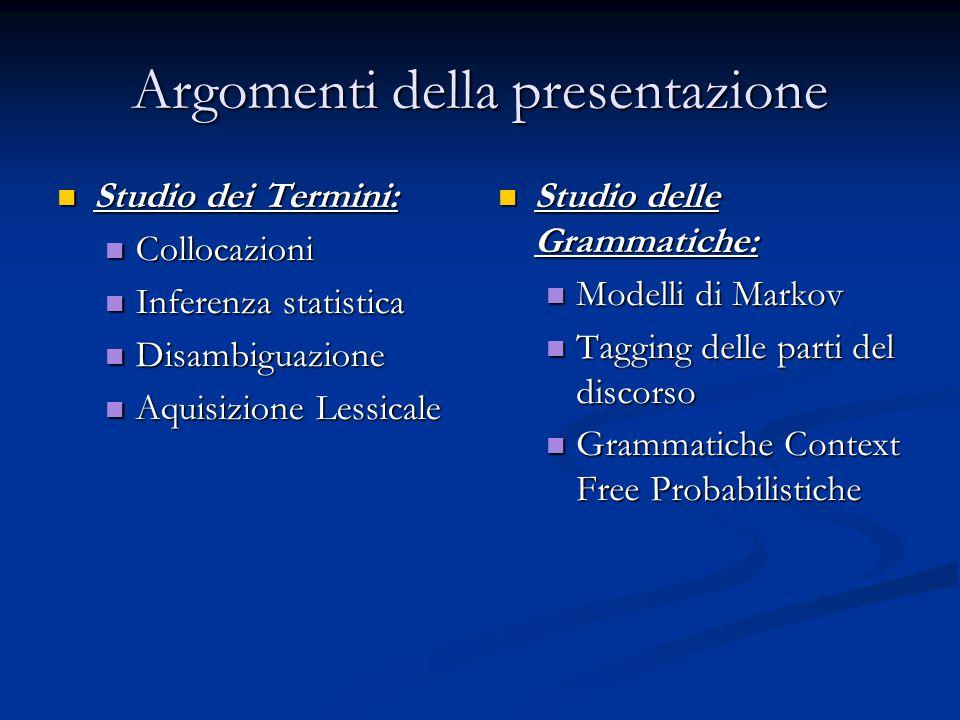 Argomenti della presentazione Studio dei Termini: Studio dei Termini: Collocazioni Collocazioni Inferenza statistica Inferenza statistica Disambiguazi