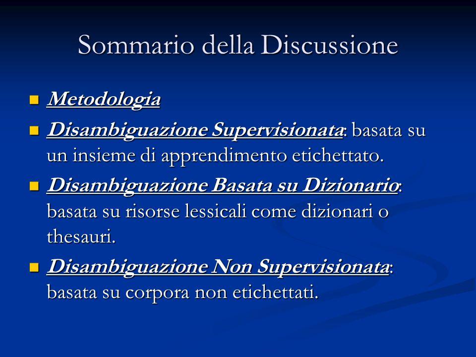Sommario della Discussione Metodologia Metodologia Disambiguazione Supervisionata: basata su un insieme di apprendimento etichettato. Disambiguazione