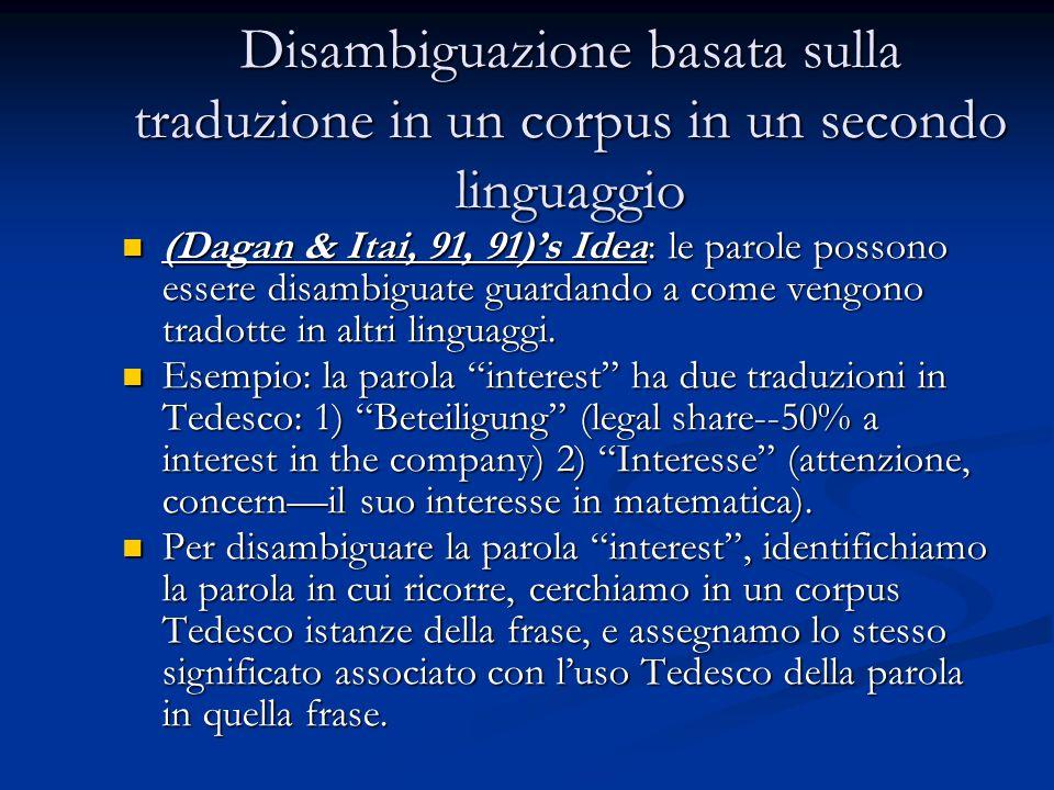 Disambiguazione basata sulla traduzione in un corpus in un secondo linguaggio (Dagan & Itai, 91, 91)'s Idea: le parole possono essere disambiguate guardando a come vengono tradotte in altri linguaggi.