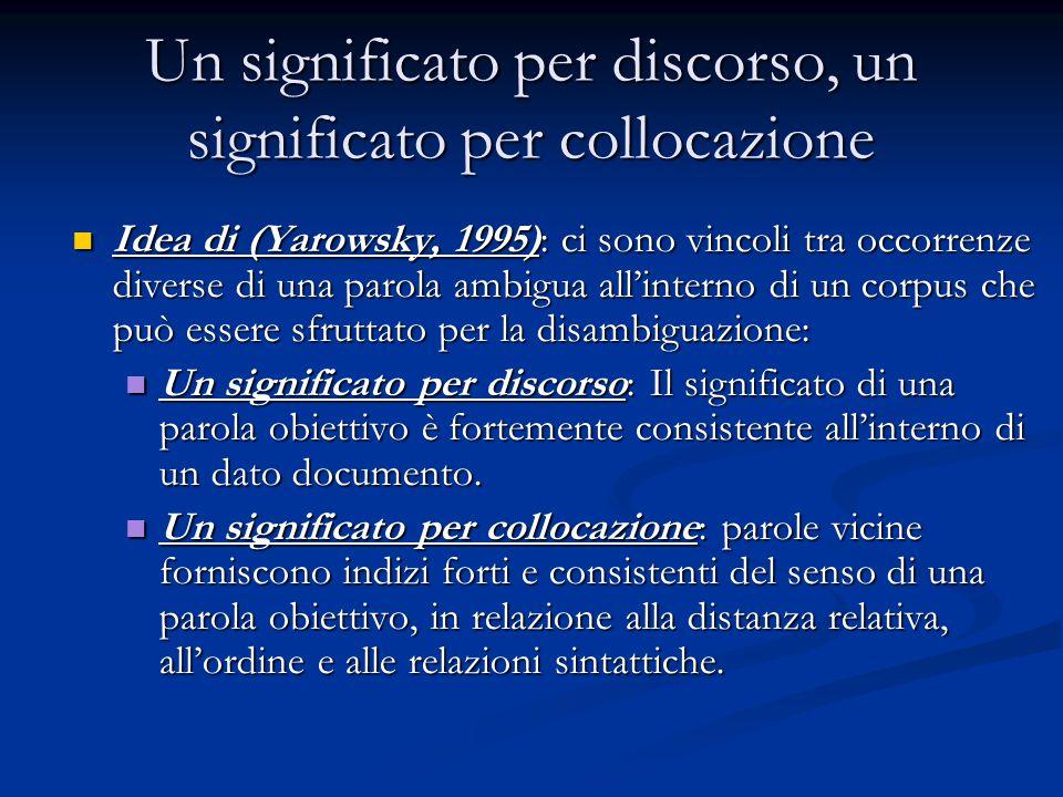 Un significato per discorso, un significato per collocazione Idea di (Yarowsky, 1995): ci sono vincoli tra occorrenze diverse di una parola ambigua all'interno di un corpus che può essere sfruttato per la disambiguazione: Idea di (Yarowsky, 1995): ci sono vincoli tra occorrenze diverse di una parola ambigua all'interno di un corpus che può essere sfruttato per la disambiguazione: Un significato per discorso: Il significato di una parola obiettivo è fortemente consistente all'interno di un dato documento.