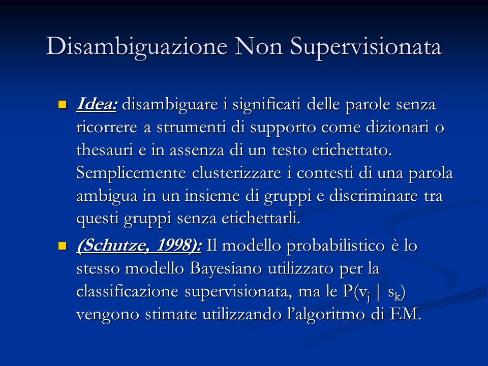 Disambiguazione Non Supervisionata Idea: disambiguare i significati delle parole senza ricorrere a strumenti di supporto come dizionari o thesauri e in assenza di un testo etichettato.