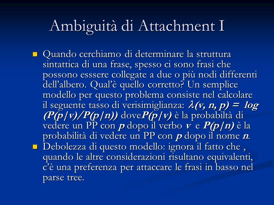 Ambiguità di Attachment I Quando cerchiamo di determinare la struttura sintattica di una frase, spesso ci sono frasi che possono esssere collegate a due o più nodi differenti dell'albero.