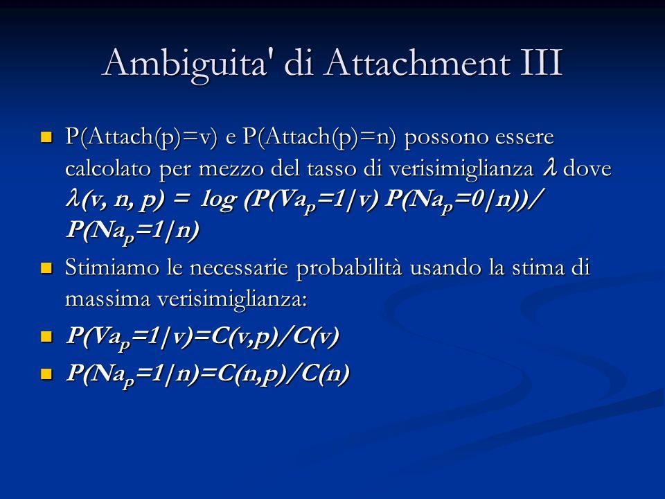 Ambiguita di Attachment III P(Attach(p)=v) e P(Attach(p)=n) possono essere calcolato per mezzo del tasso di verisimiglianza dove (v, n, p) = log (P(Va p =1|v) P(Na p =0|n))/ P(Na p =1|n) P(Attach(p)=v) e P(Attach(p)=n) possono essere calcolato per mezzo del tasso di verisimiglianza dove (v, n, p) = log (P(Va p =1|v) P(Na p =0|n))/ P(Na p =1|n) Stimiamo le necessarie probabilità usando la stima di massima verisimiglianza: Stimiamo le necessarie probabilità usando la stima di massima verisimiglianza: P(Va p =1|v)=C(v,p)/C(v) P(Va p =1|v)=C(v,p)/C(v) P(Na p =1|n)=C(n,p)/C(n) P(Na p =1|n)=C(n,p)/C(n)