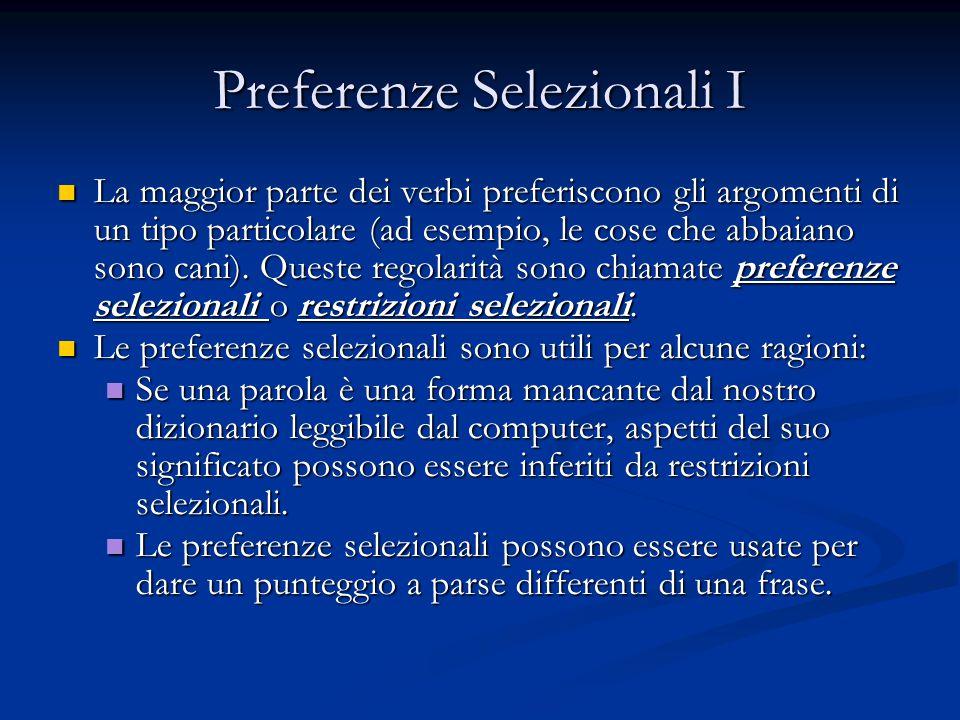 Preferenze Selezionali I La maggior parte dei verbi preferiscono gli argomenti di un tipo particolare (ad esempio, le cose che abbaiano sono cani).